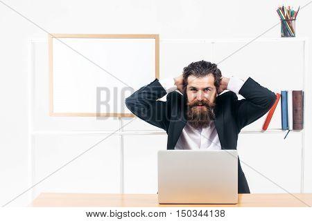Workman Put Hands Behind Head