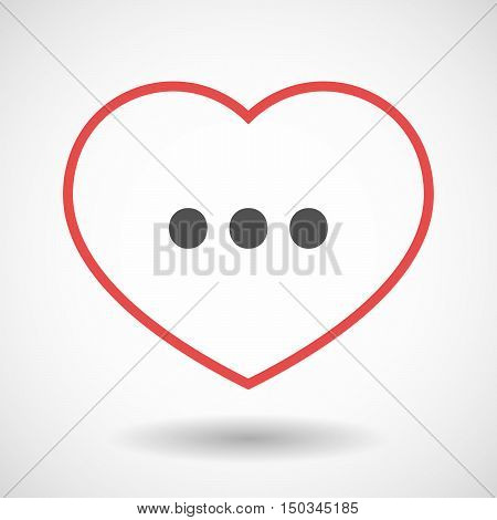 Isolated Line Art Red Heart With  An Ellipsis Orthographic Sign
