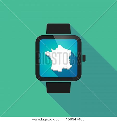 Long Shadow Smart Watch With  The Map Of France