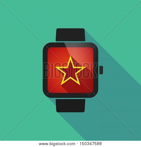 Long Shadow Smart Watch With  The Red Star Of Communism Icon