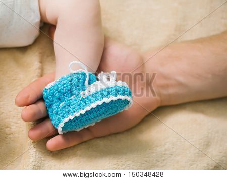Blue Knit Childrens Booties