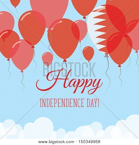 Bahrain Independence Day Flat Greeting Card. Flying Rubber Balloons In Colors Of The Bahraini Flag.