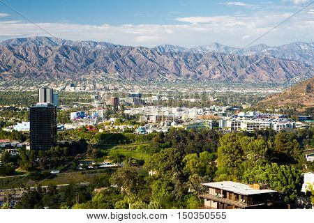 Los Angeles, USA - 6 July: A view over Burbank on a hot clear summer's day