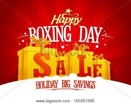 Boxing day sale design concept with golden gift boxes, holiday savings banner