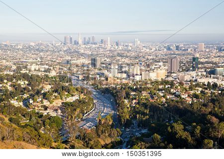 Los Angeles, USA - 6 July: View over LA skyline and the Hollywood Fwy