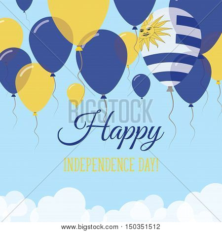 Uruguay Independence Day Flat Greeting Card. Flying Rubber Balloons In Colors Of The Uruguayan Flag.