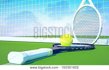 Tennis; racket; tennis grass court sky.3D illustration