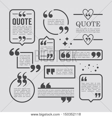 Modern Block Quote And Pull Quote Line Frame Design Elements. Creative Quote Text Template