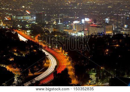 Los Angeles, USA - 6 July: View over LA skyline and the Hollywood Fwy at night