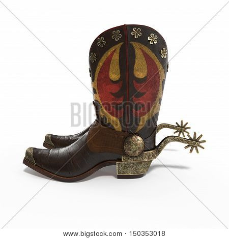 Side view of old western boots and spurs isolated on white background. 3D illustration