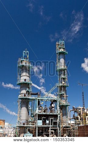 Chemical Refinery Plant Smokestack Tower Pipeline, heavy industry