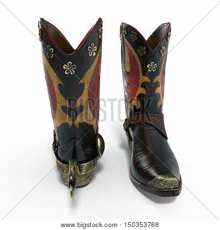 closeup of a pair cowboy boots with spurs on white background. 3D illustration