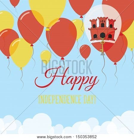 Gibraltar Independence Day Flat Greeting Card. Flying Rubber Balloons In Colors Of The Gibraltar Fla