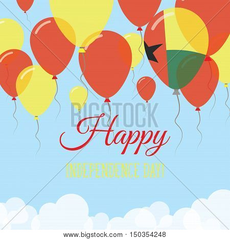 Guinea-bissau Independence Day Flat Greeting Card. Flying Rubber Balloons In Colors Of The Guinea-bi