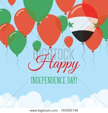 Syrian Arab Republic Independence Day Flat Greeting Card. Flying Rubber Balloons In Colors Of The Sy