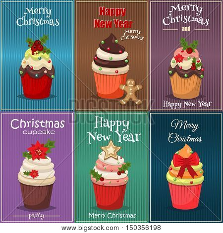 Christmas set of cupcakes and muffins vector. Sweet dessert food christmas cupcakes celebration party winter baking. Xmas decorated festive frosting Christmas cupcakes holidays sugar food.