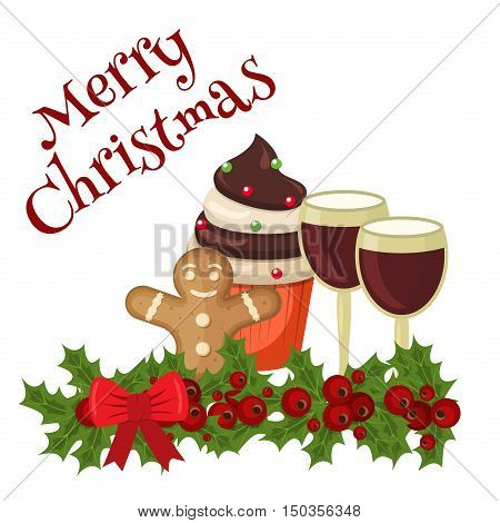 Christmas food card cookies with festive decoration. Decoration dessert traditional christmas food festive celebration card. Homemade cake gingerbread christmas food holiday decoration dessert.
