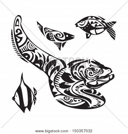 Moray tattoo in Maori style. Vector illustration EPS10