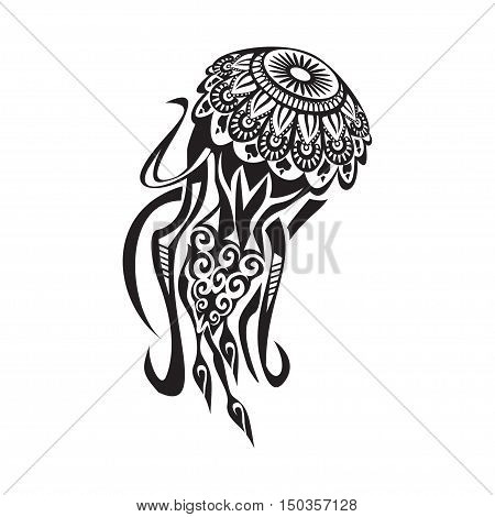Jellyfish tattoo in Maori style. Vector illustration EPS10
