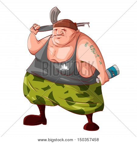 Colorful vector illustration of a cartoon fat drunk rebel / separatist guerilla fighter holding a bottle of vodka smoking cigarette