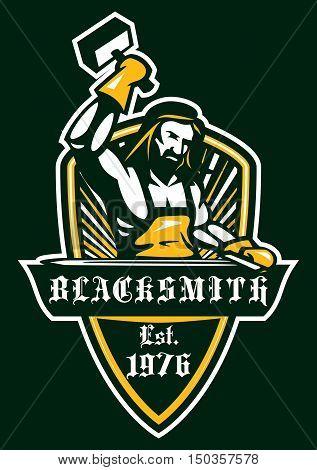 Blacksmith logo iron label industry labor badge