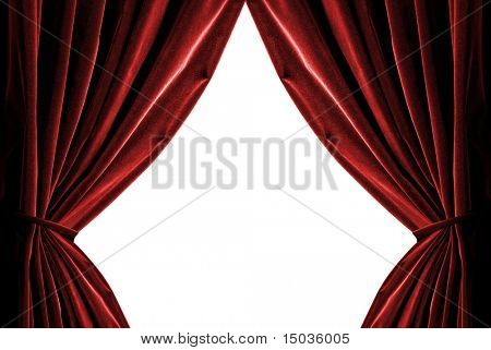 red curtains isolated on white