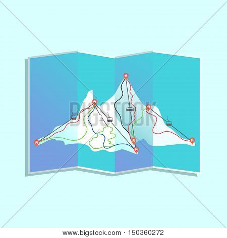 Paper map of winter ski resort with lifts mountain huts and trails. Mountain landscape navigation for snowboarding and skiing. Active travel and sport concept. Vector illustration.