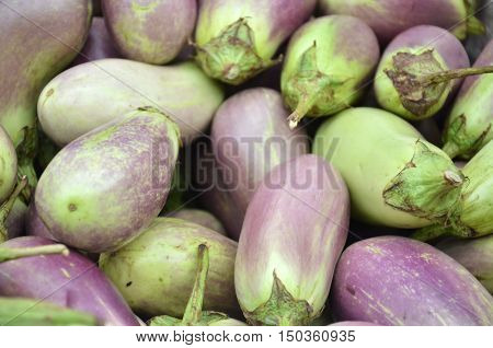 Raw ripe Eggplant display at Vegetable Stall of Local Market at Little India Singapore