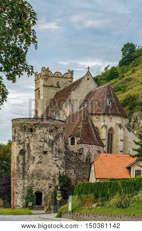 St. Michael church is fortified Gothic church on the north bank of the Danube Austria