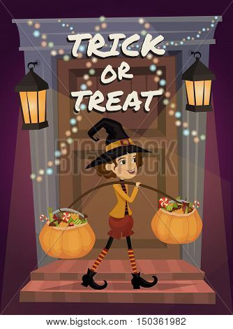 Cartoon girl in Halloween costume with hat magician comes with treats in pumpkin vector illustrations. Halloween kids concept. Beggars Night holiday. Halloween pumpkin. All Hallows Evening. Cartoon vector illustration. Halloween concept.