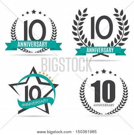 Template Logo 10 Years Anniversary Set Vector Illustration EPS10