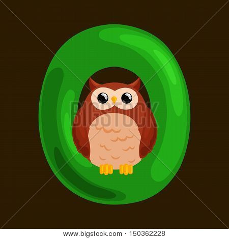 animal owl and letter O for kids abc education in preschool.Cute animals letters english alphabet. Cartoon animals alphabet for learning letters vector illustration. Single letter with wild animal owl