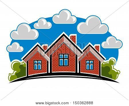 Colorful Vector Illustration Of Country Houses Created With Bricks. Simple Homes On Nature Backgroun