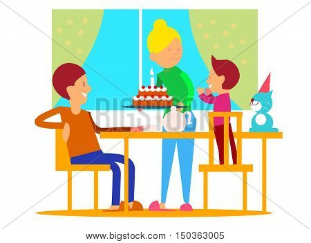 Child's first birthday celebrationt. Mother puts decorated tier cake with candle on table, glad father and birthday boy on chairs flat vector illustration. Family circle home party. Joy of childhood
