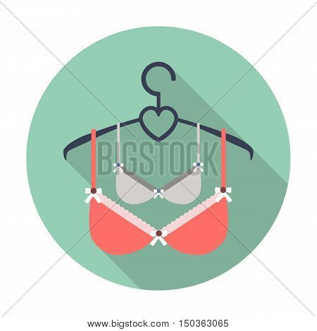 brassieres flat icon with long shadow for web design