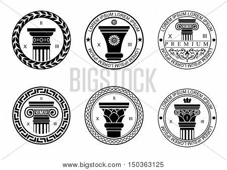 Set round logos or patterns of seals logos with capitals for architectural or construction companies. Vector graphics