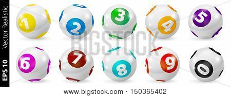 Vector Colorful Bingo. Lottery Number Balls. Colored balls isolated. Bingo ball. Bingo balls with numbers. Set of colored balls. Realistic vector. Lotto concept. Bingo balls set.
