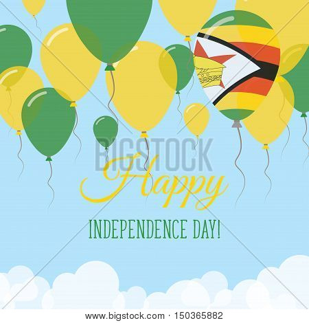 Zimbabwe Independence Day Flat Greeting Card. Flying Rubber Balloons In Colors Of The Zimbabwean Fla