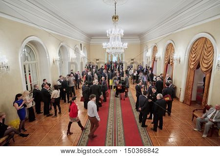 MOSCOW, RUSSIA - APR 23, 2016: Union House hall with guests and members of A Just Russia political party after meeting at 8th congress.