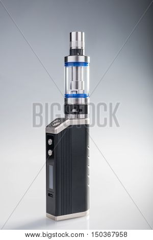 E-cig box mod on gray and white background