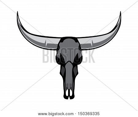 Bull Skull Silhouette buffalo rodeo symbol longhorn