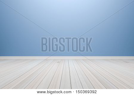 Empty interior light blue room with wooden floor for display of your products. - 3D rendering