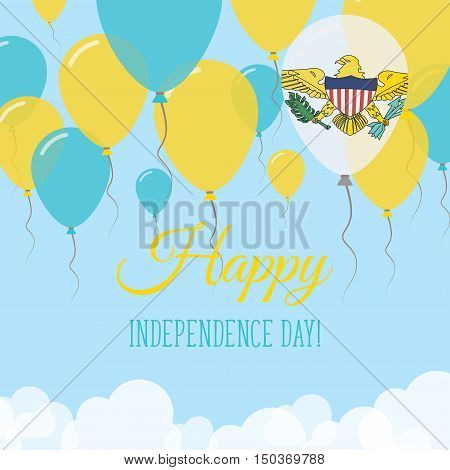 Virgin Islands, U.s. Independence Day Flat Greeting Card. Flying Rubber Balloons In Colors Of The Vi