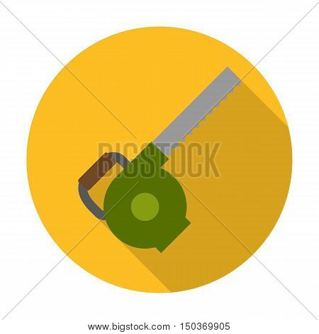 chainsaw flat icon with long shadow for web design