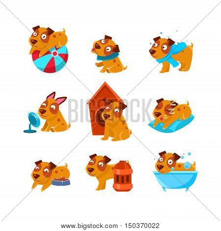 Puppy Everyday Activities Set Of Silly Childish Drawings Isolated On White Background. Funny Animal Colorful Vector Stickers Set.