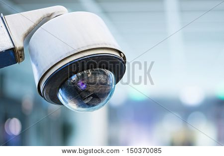 Cctv Security Camera With Blurred Background