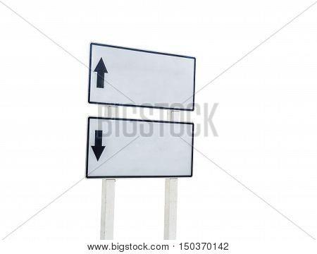 white guide post isolated on white background