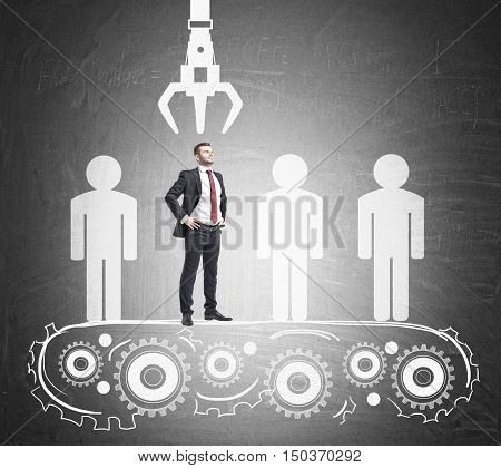 Portrait of confident businessman standing on conveyor belt and being picked up unlike his competitors. Concept of HR work