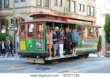 SAN FRANCISCO - MAR. 16, 2014: Antique Cable Car in Fisherman's Wharf in San Francisco, California, USA.