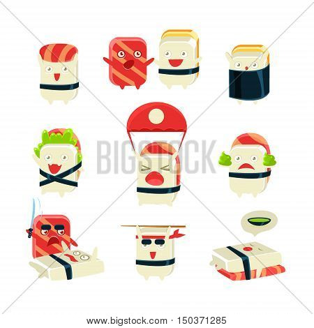 Japanese Sushi Man Different Activities. Set Of Silly Childish Drawings Isolated On White Background. Funny Creature Colorful Vector Stickers Set.